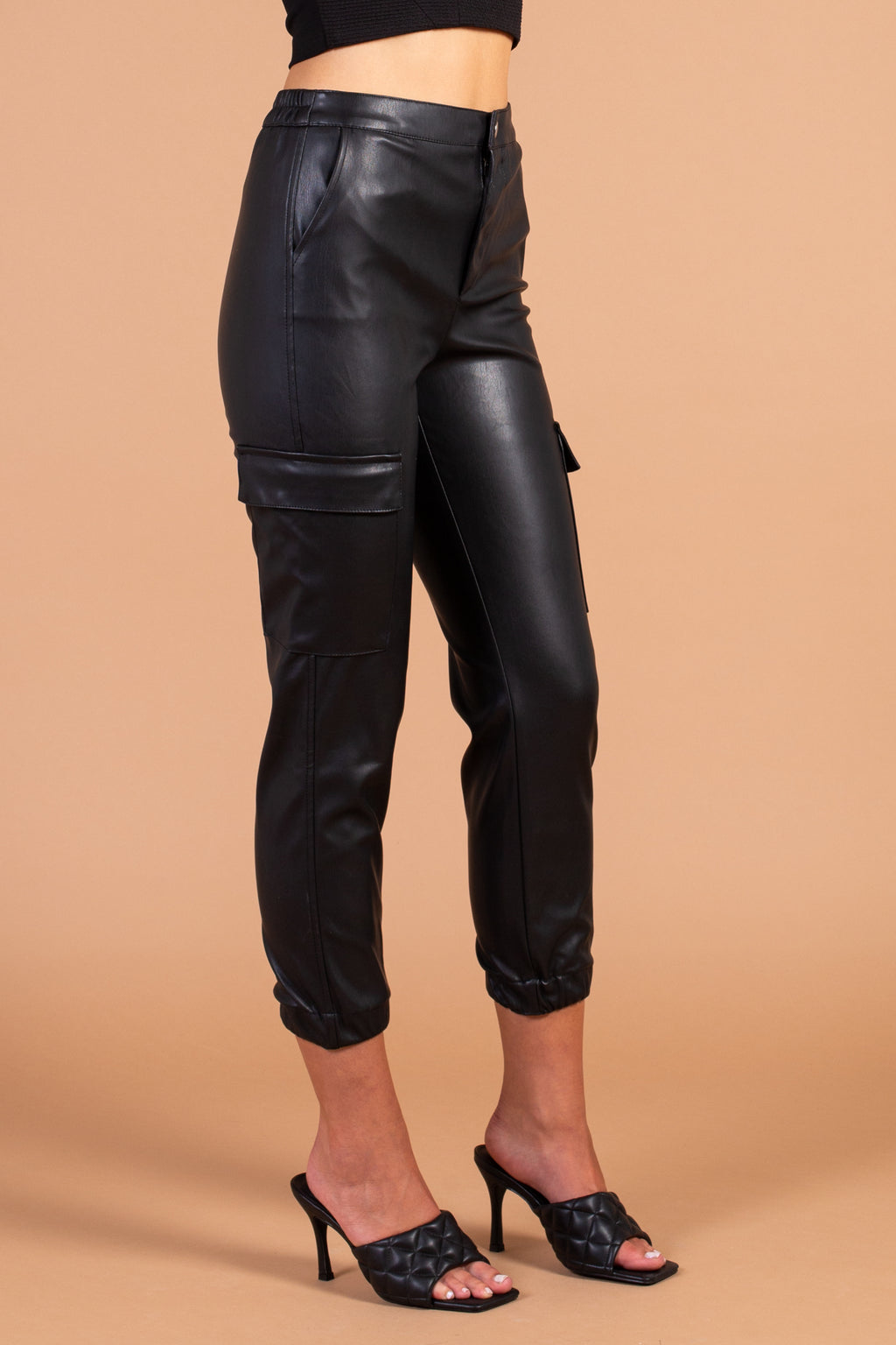 Vegan Leather Cargo Jogger - honey
