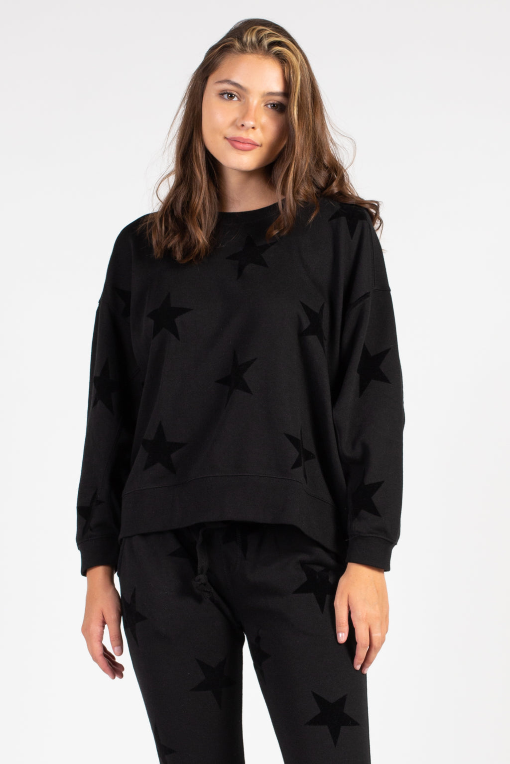 Star Flocking Pullover Sweatshirt