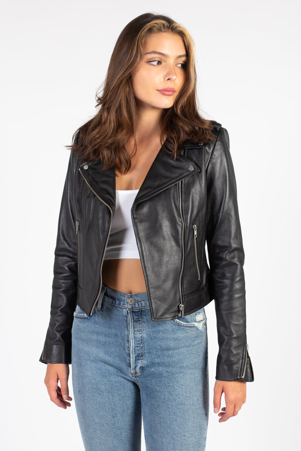 Classic Leather Moto Jacket - honey