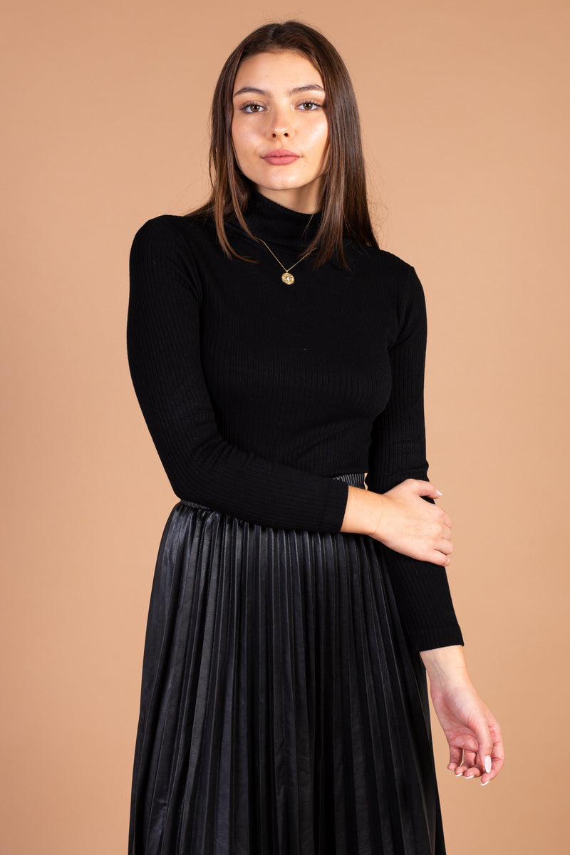 Long Sleeve Ribbed Turtleneck - honey