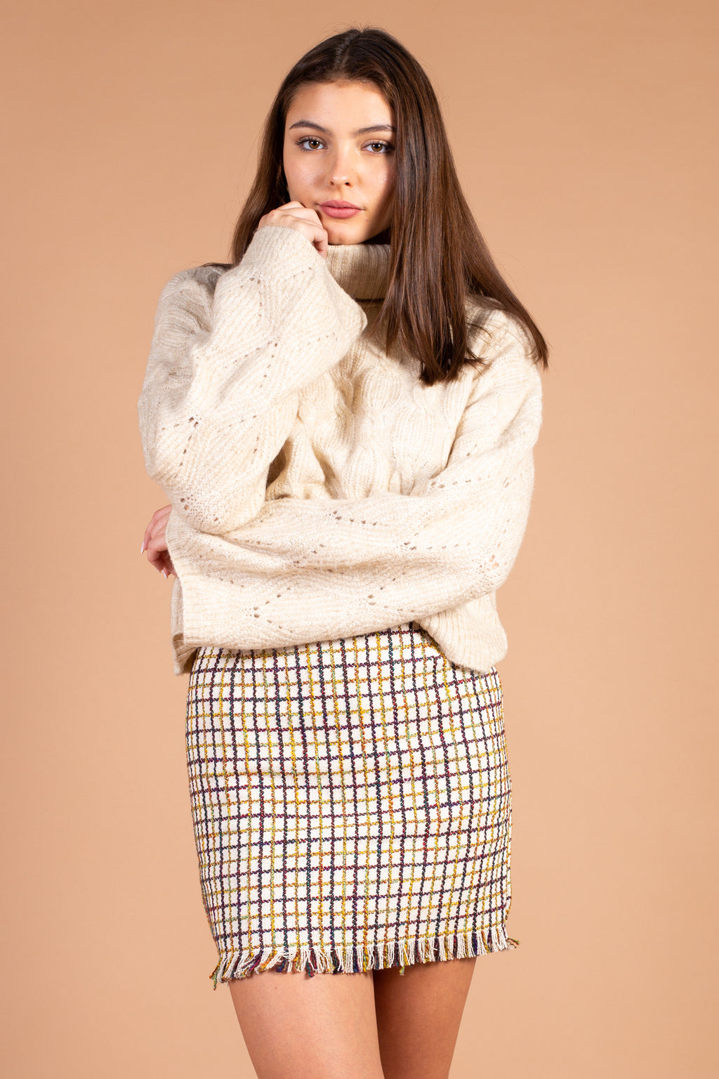 Turtleneck Cable Knit Sweater - honey