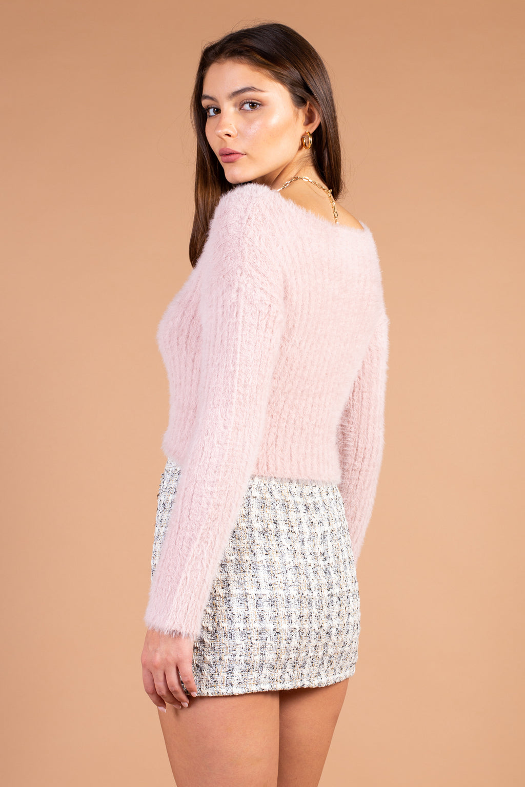 Hadley Eyelash Knit Cropped Sweater