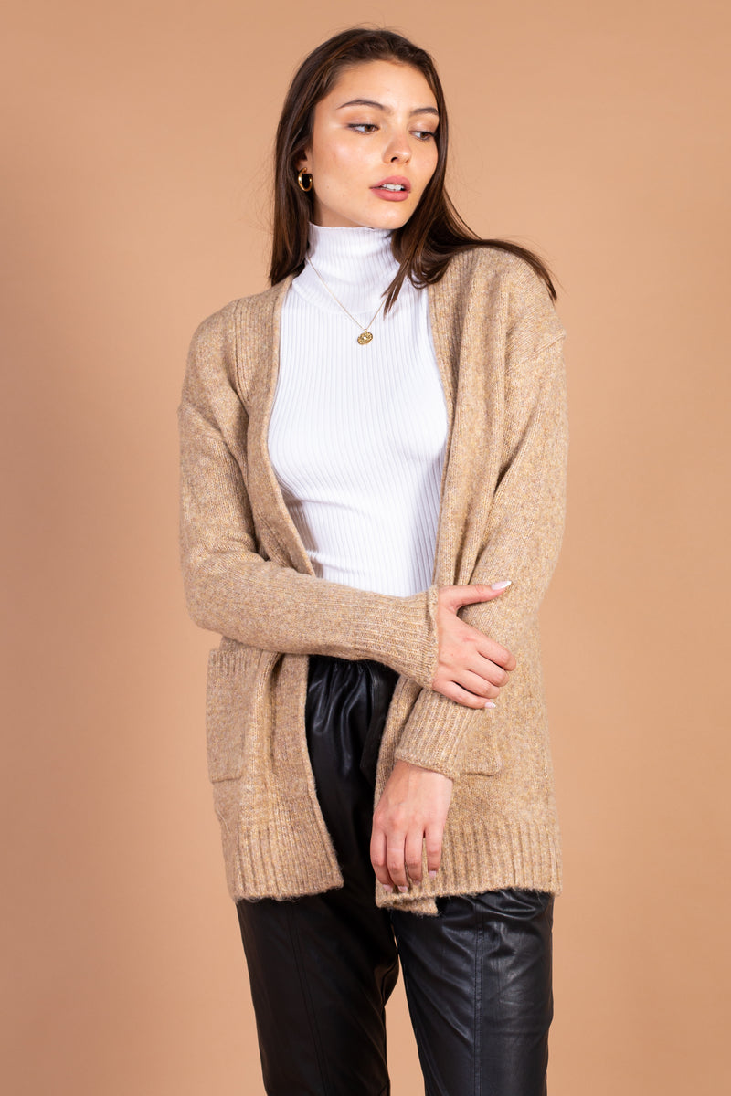 Patch Pocket Open Knit Cardigan