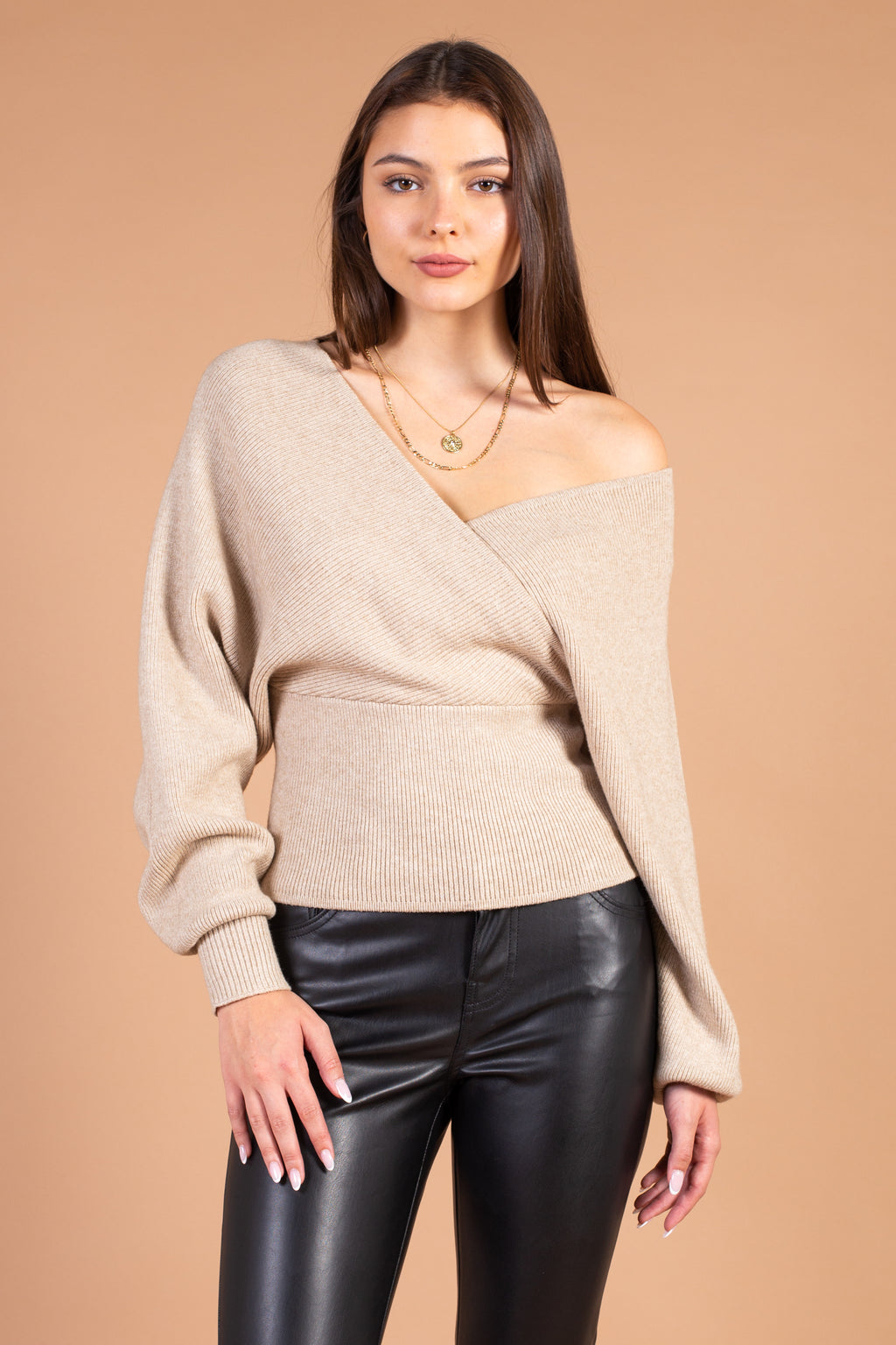 Imana Ribbed Knit Wrap Sweater - honey