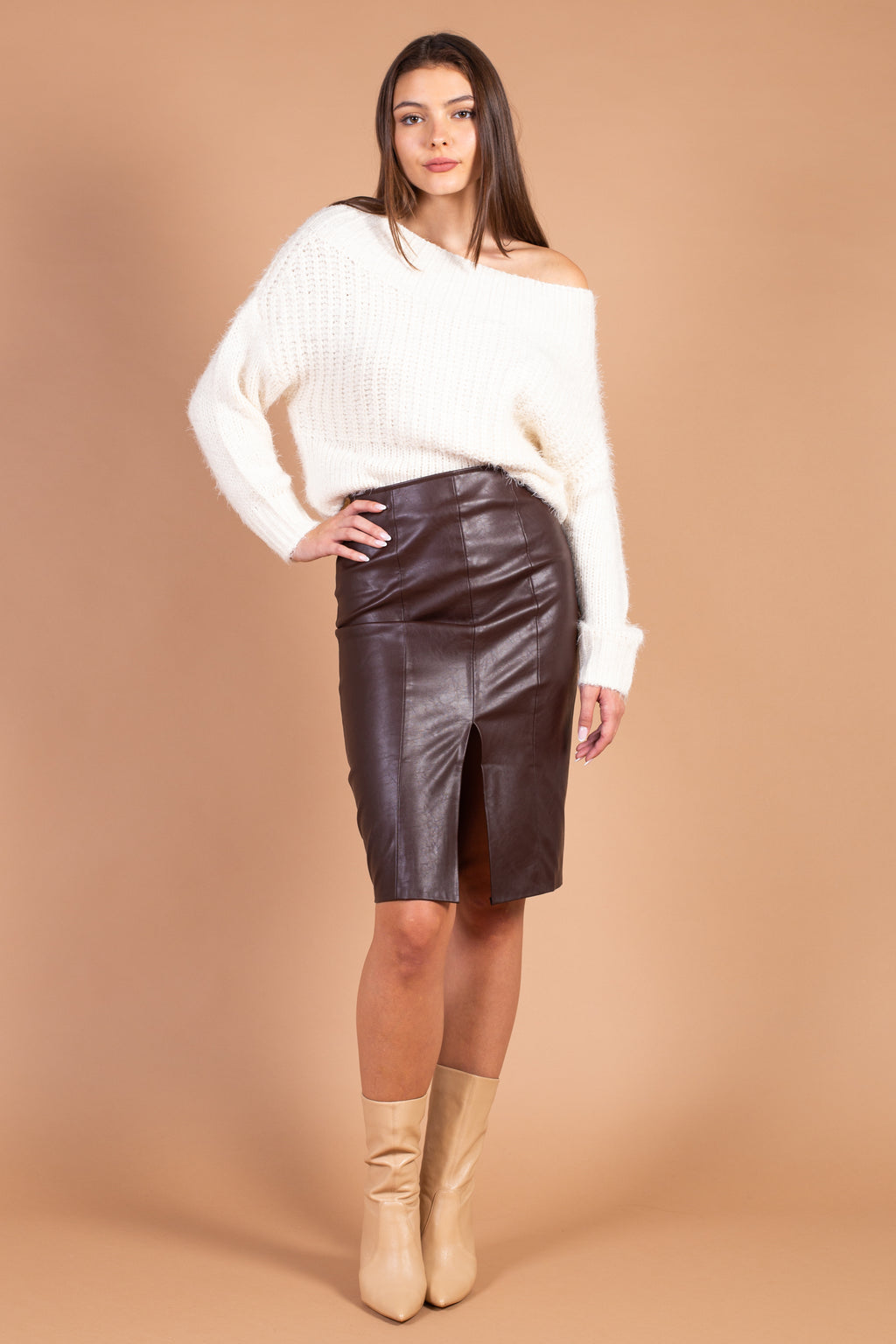 Celia Vegan Leather Midi Skirt