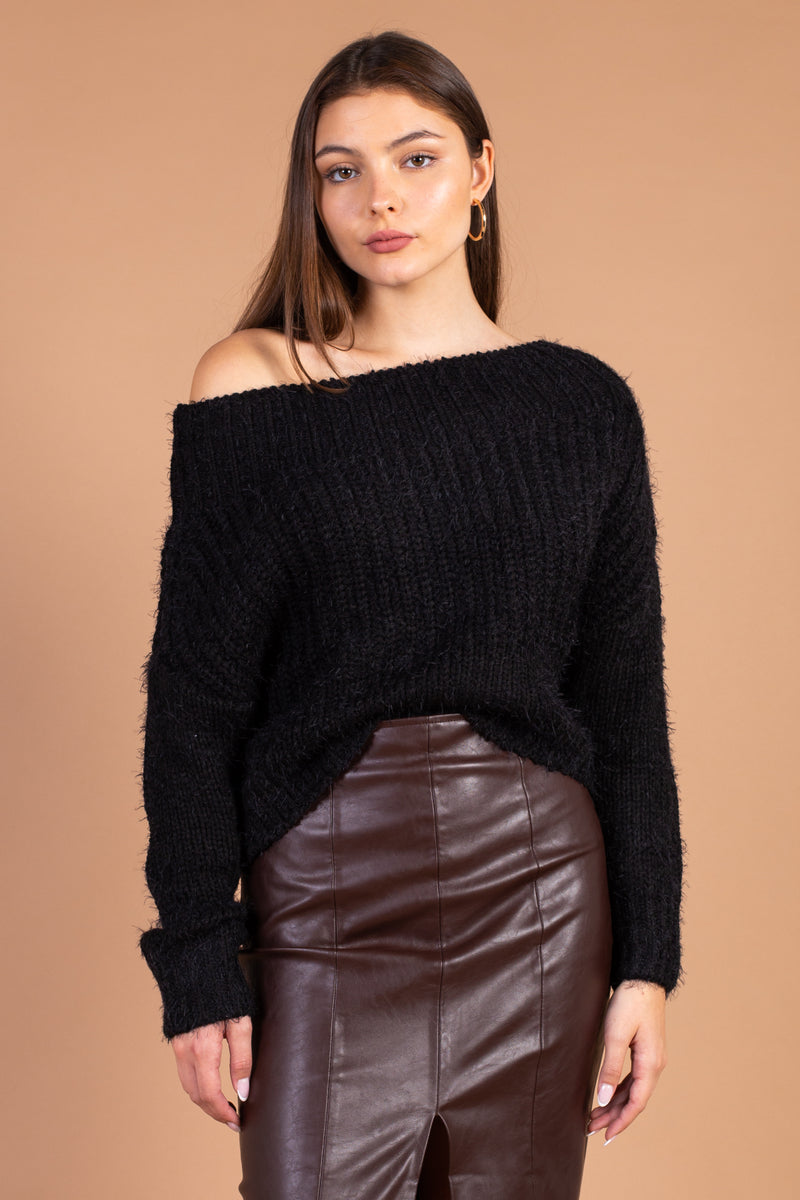 Off the Shoulder Fuzzy Cropped Sweater