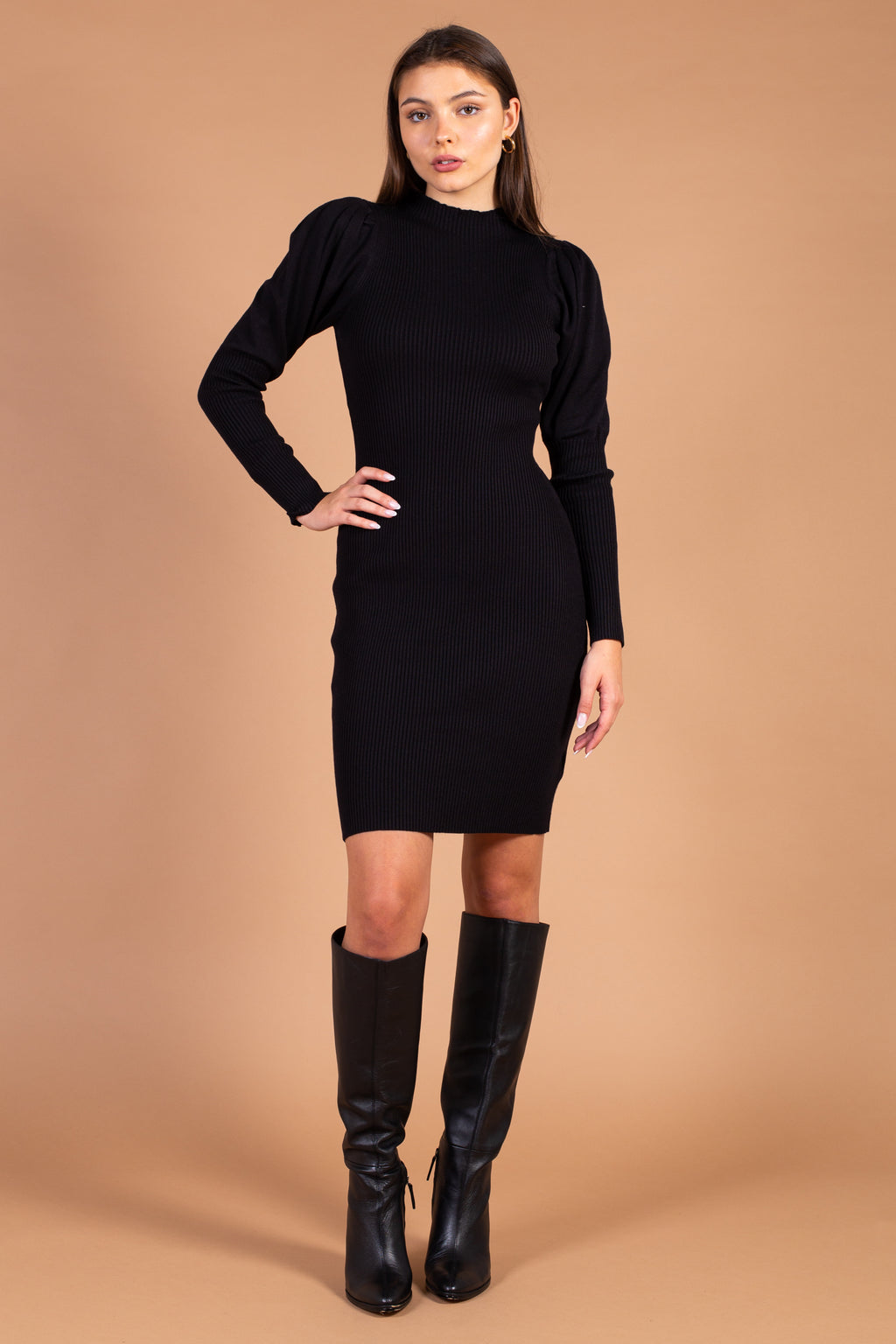 Gianna Mock Neck Ribbed Knit Sweater Dress