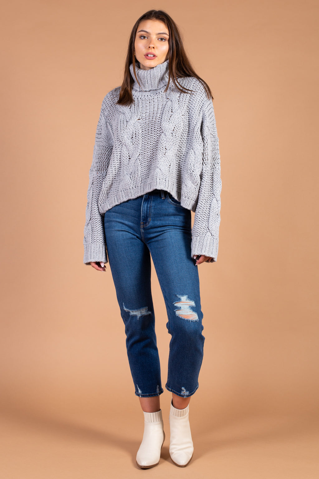 Cropped Cable Knit Turtleneck Sweater
