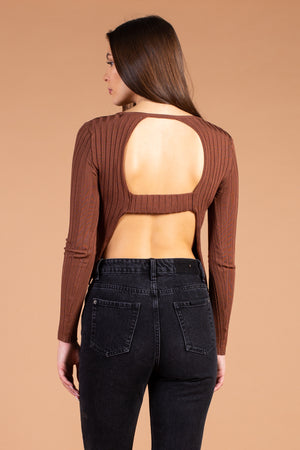 Ribbed Knit Open Back Long Sleeve Top