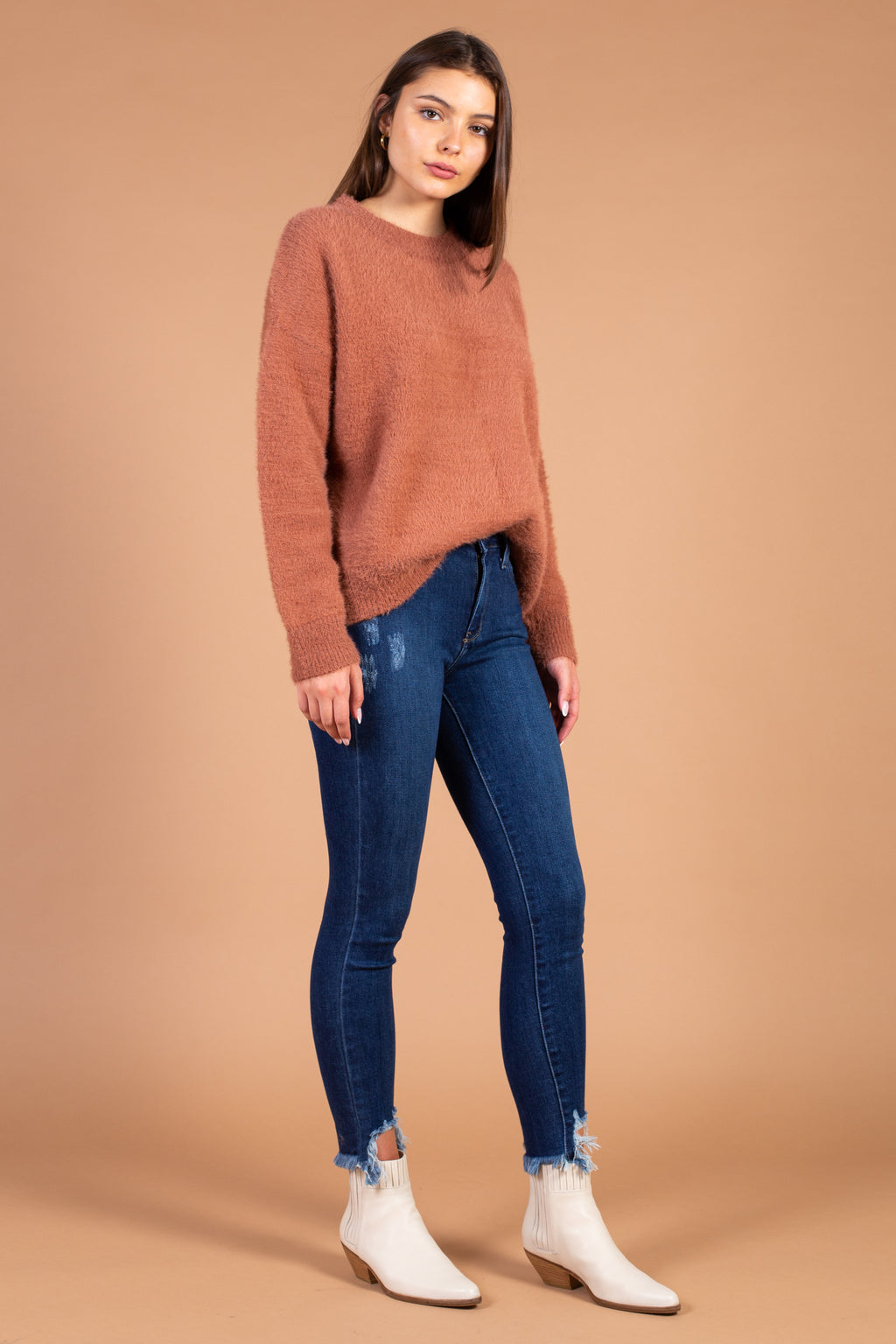Alaina Fuzzy Crew Neck Sweater