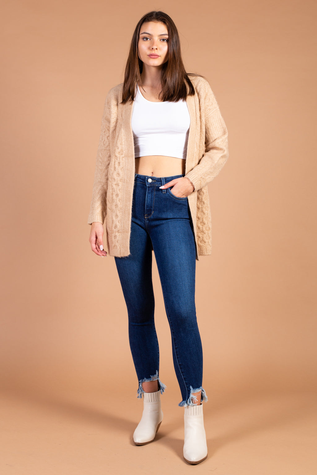 Deanna Textured Knit Open Cardigan