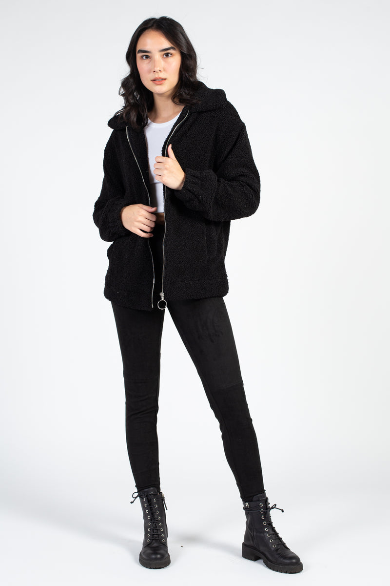 Collared Zip Up Teddy Jacket