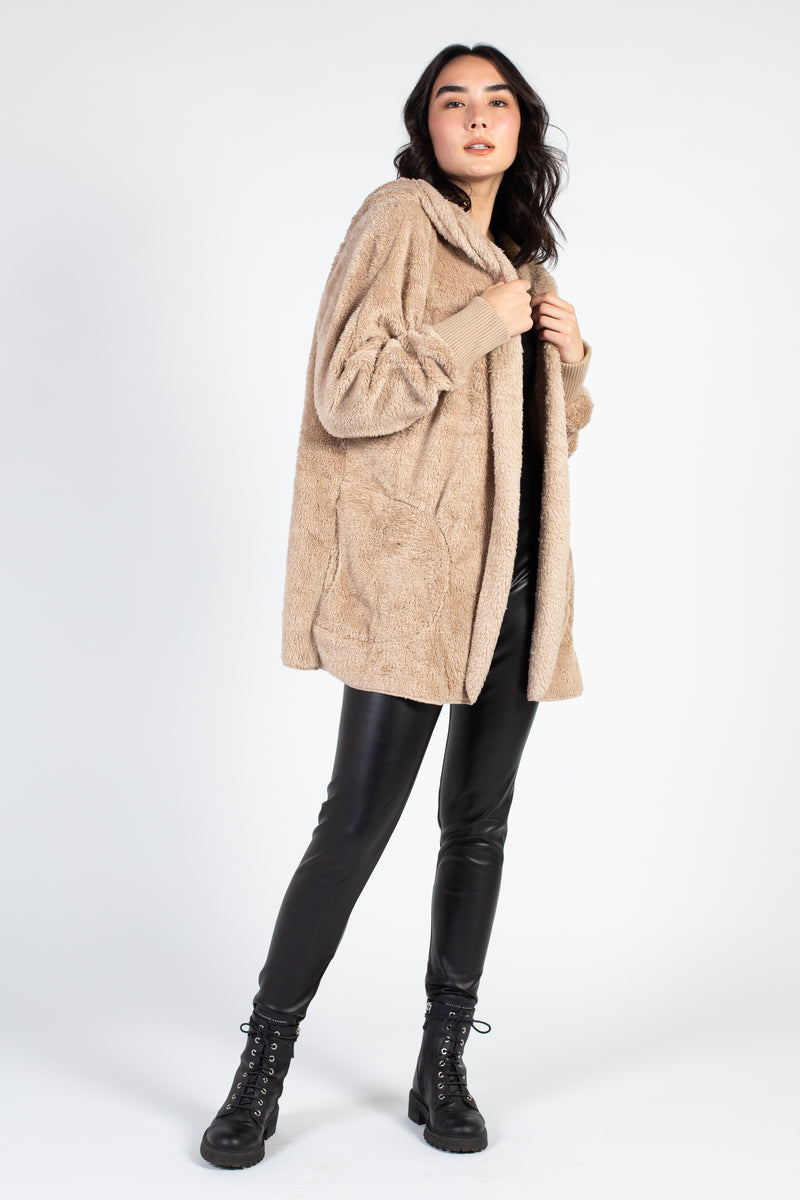 Teddy Open Cardigan with Hood