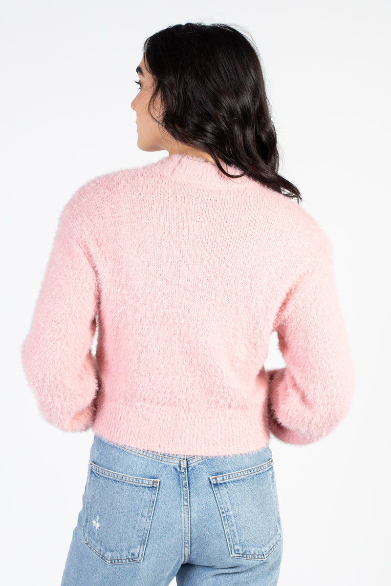 Eyelash Knit Crop Mock Neck Sweater