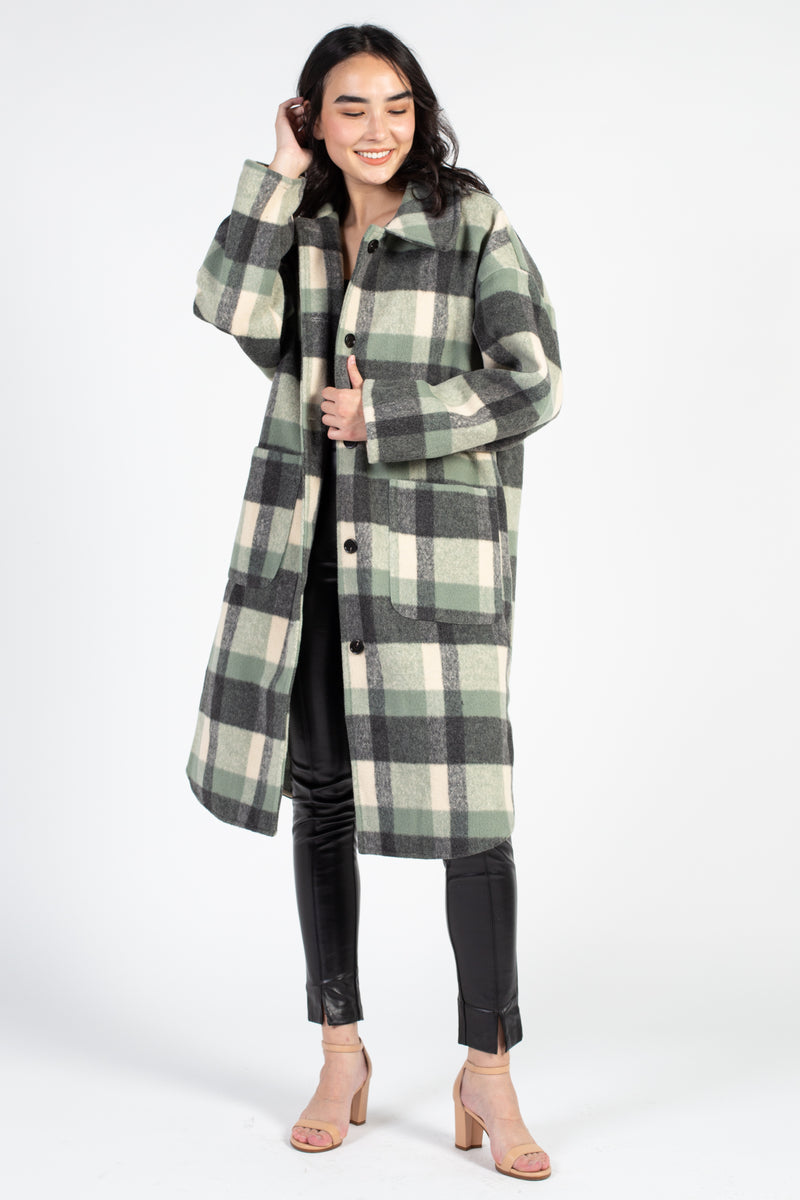Long Plaid Shirt Jacket - honey