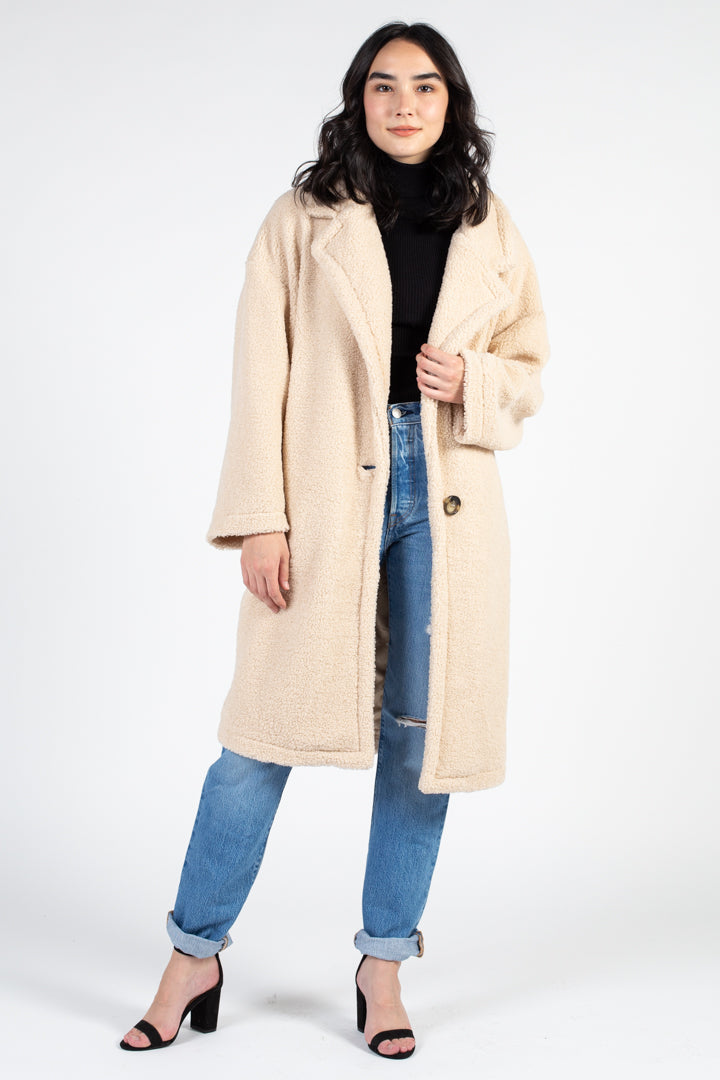 Textured Oversized Teddy Coat - honey