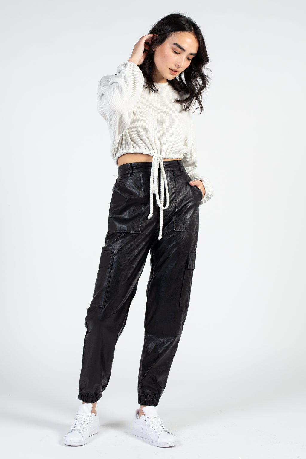 Faux Leather Cargo Jogger Pant - honey