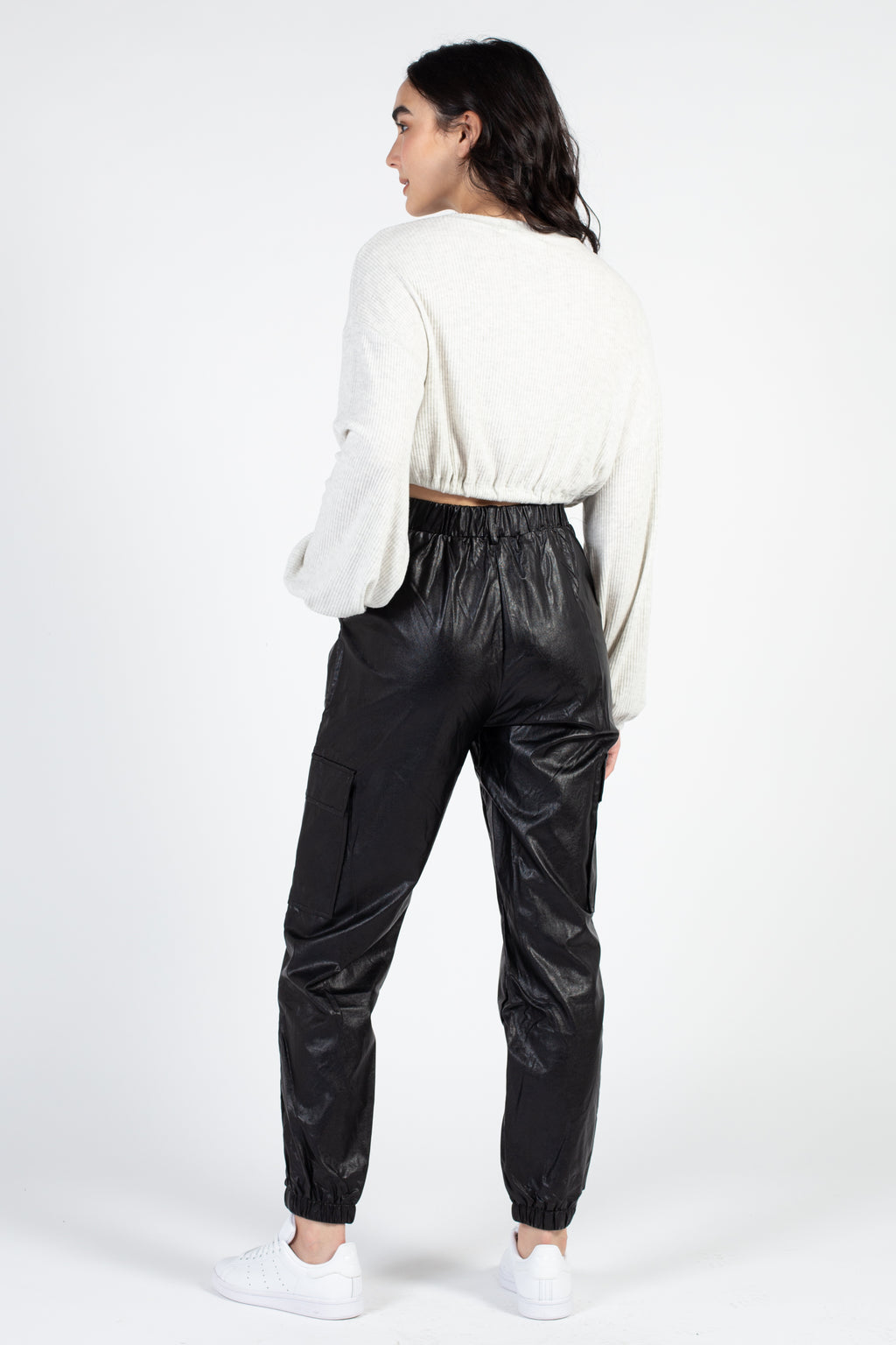 Faux Leather Cargo Jogger Pant