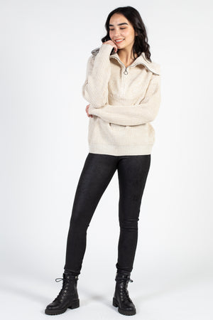 Hailey Half Zip Knit Sweater