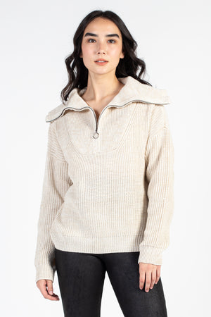 Hailey Half Zip Knit Sweater - honey