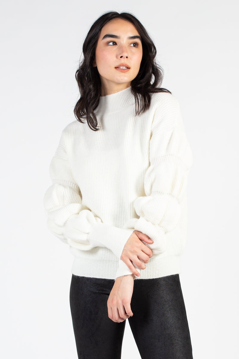 Mock Neck Bubble Sleeve Sweater