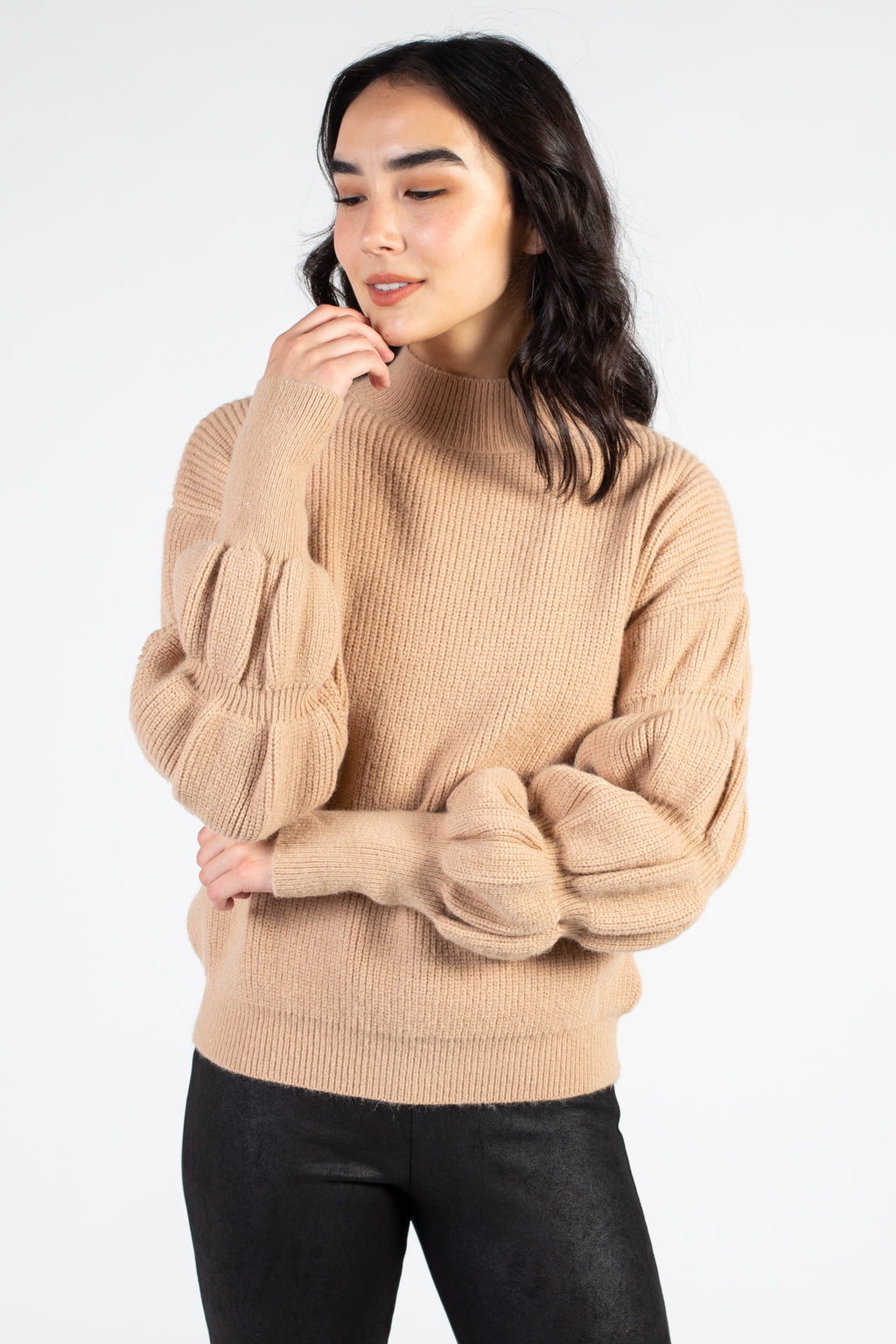 Mock Neck Bubble Sleeve Sweater - honey