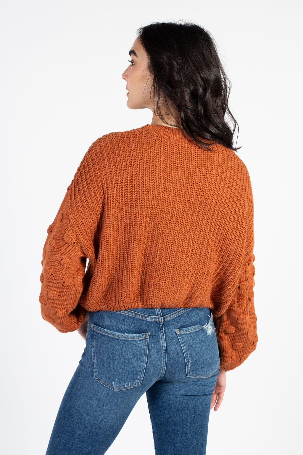 Ali Cropped Textured Sleeve Sweater - honey