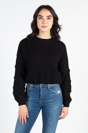 Ali Cropped Textured Sleeve Sweater