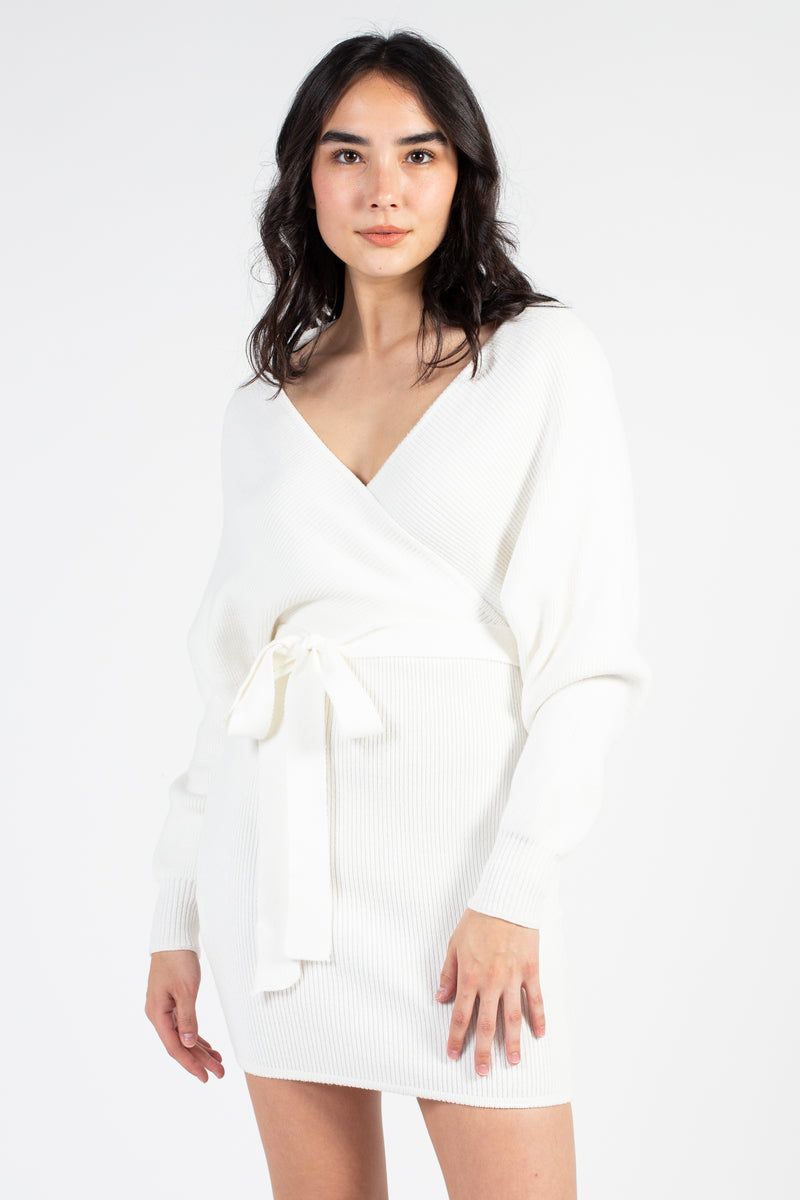 Olivia Tie Waist Sweater Dress - honey