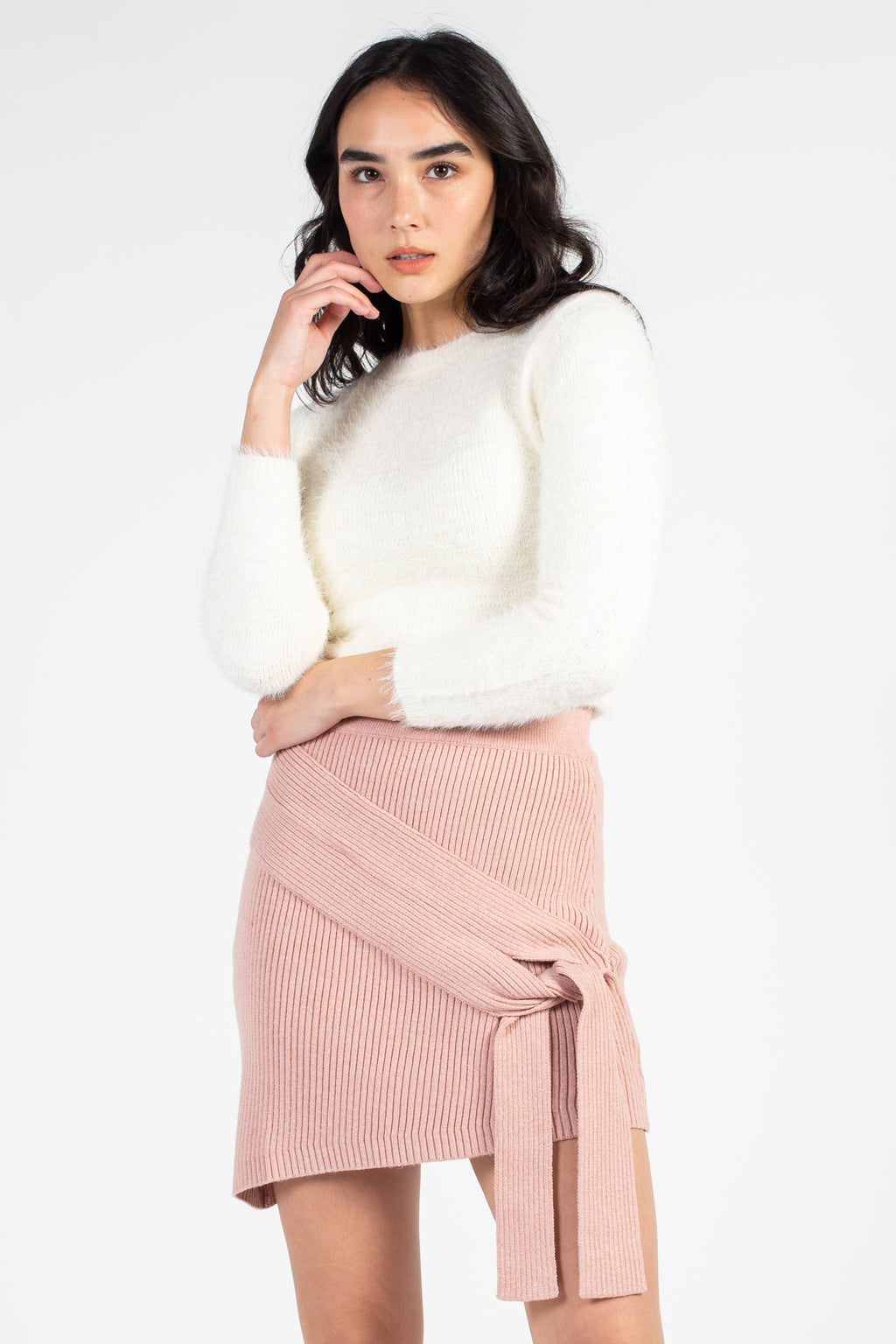 Ribbed Knit Tie Front Mini Skirt