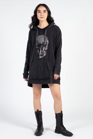 Washed Rhinestone Skull Dress - honey