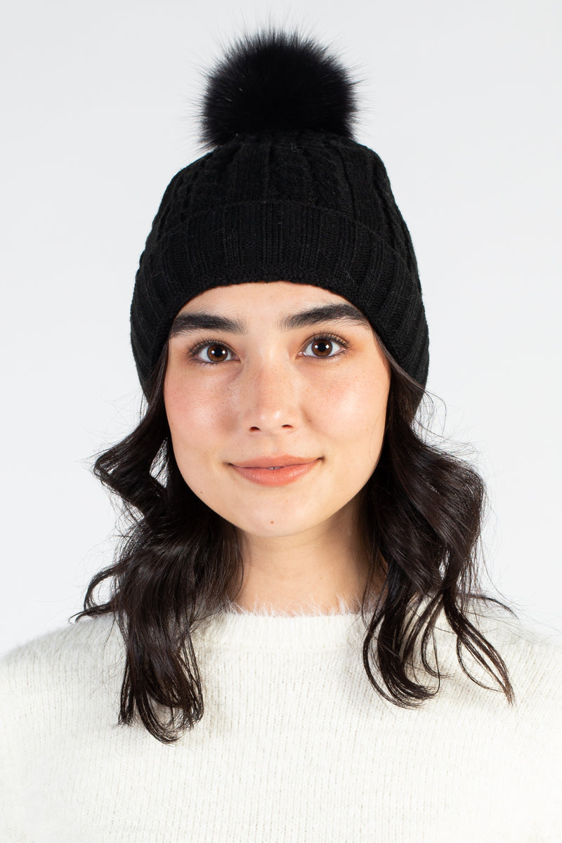 Cable Knit Hat with Fur Pom Pom