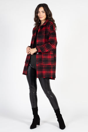 Plaid Shirt Coat with Raw Hem - honey