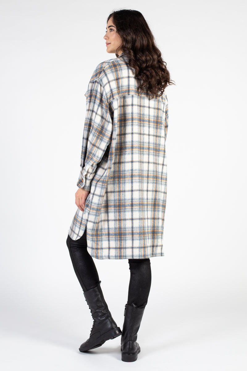 Long Plaid Shirt Jacket