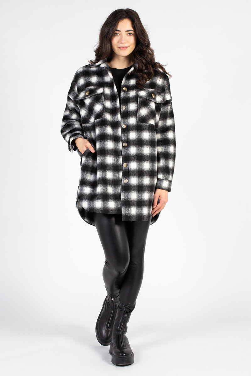 Button Up Plaid Shirt Jacket - honey