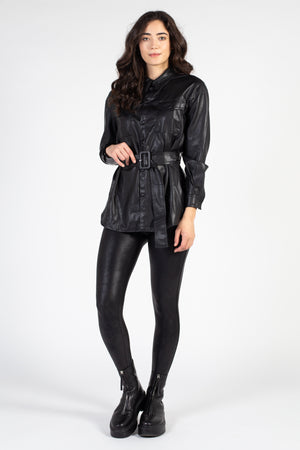 Vegan Leather Shirt Jacket