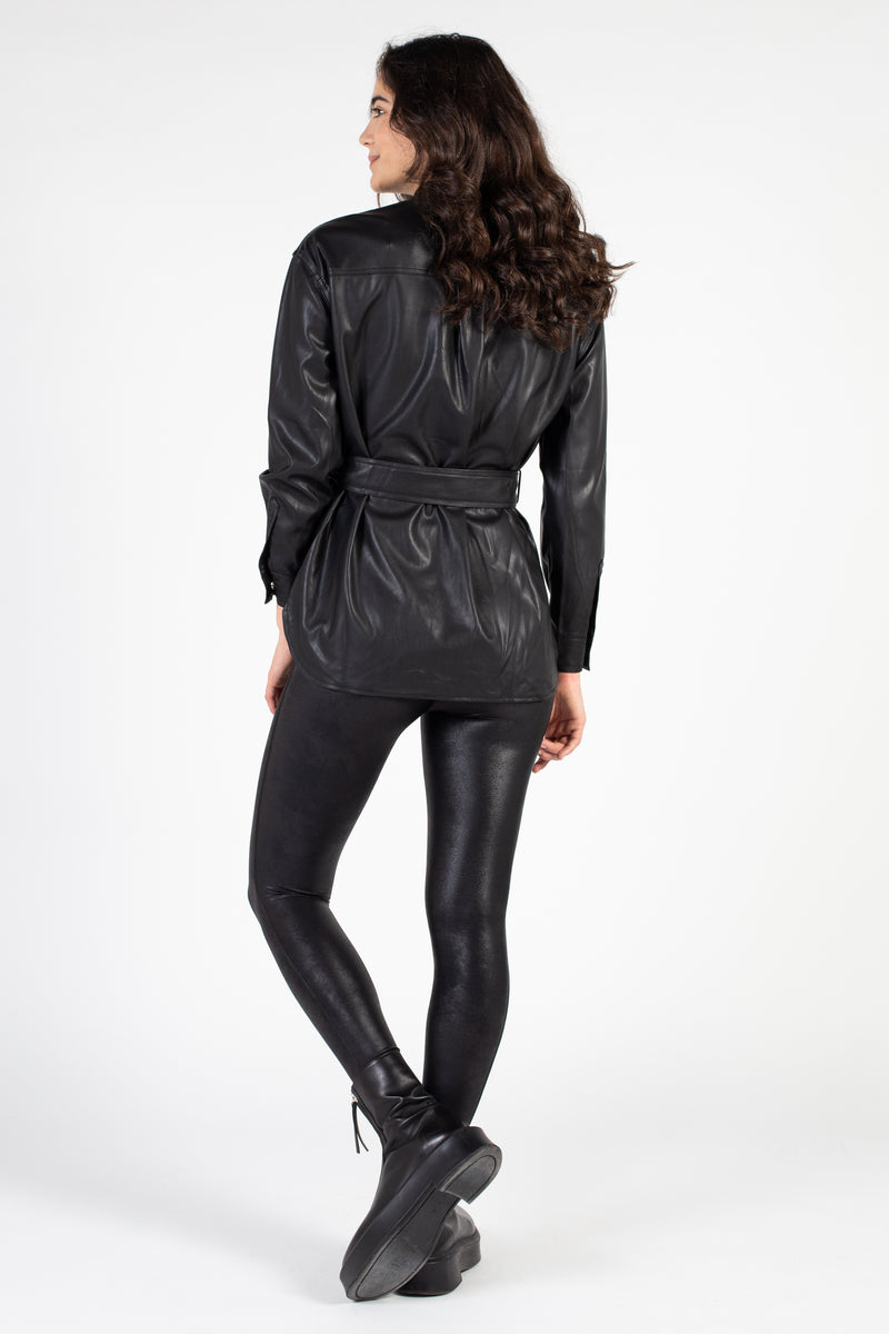 Vegan Leather Shirt Jacket - honey