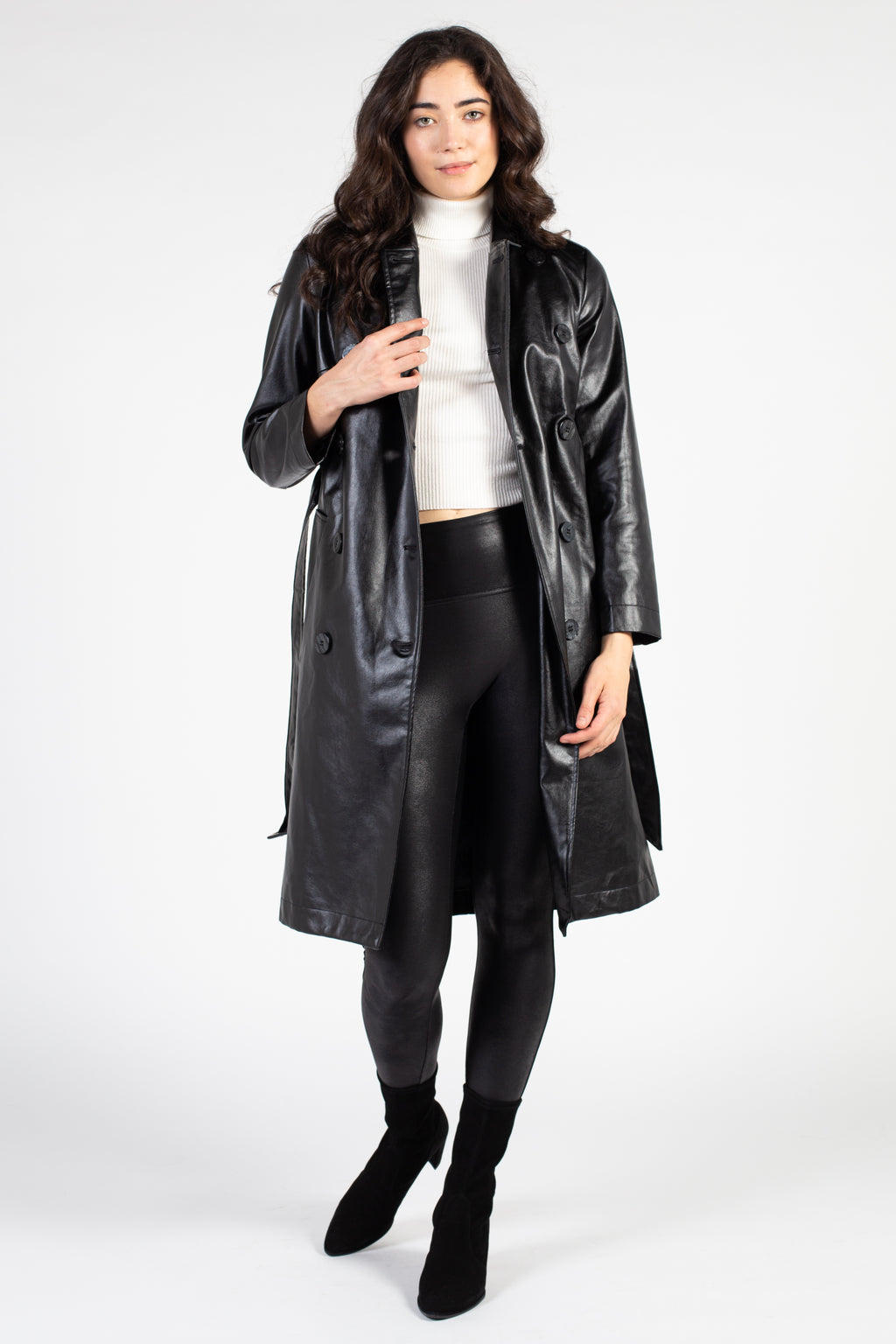 Lola Faux Leather Trench Coat