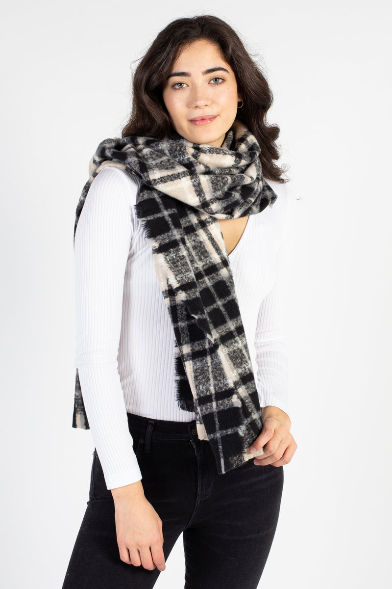 Plaid Blanket Scarf - honey