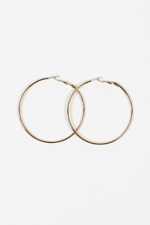 Oversize Gold Thin Hoops - honey