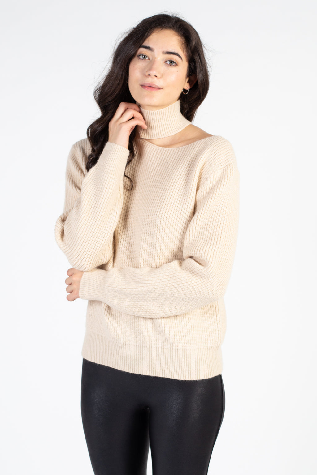 Ribbed Knit Mock Neck Cut Out Sweater - honey