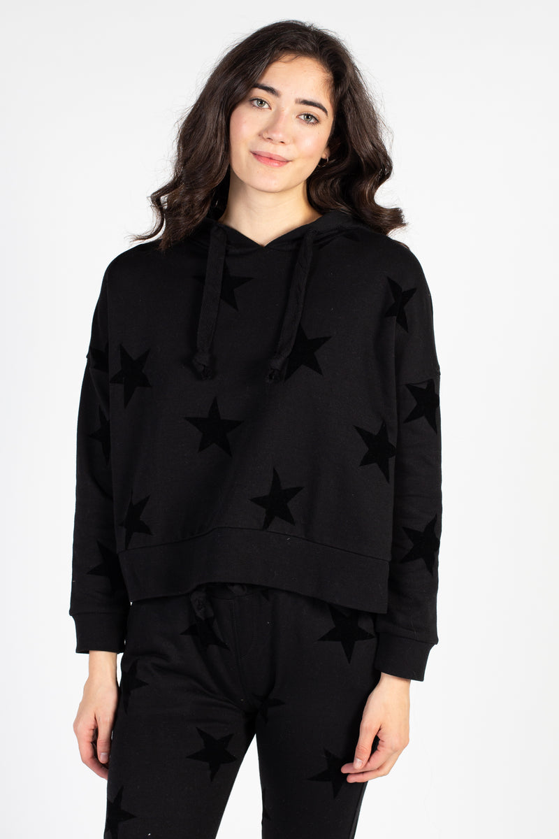 Star Flocking Crop Hoodie
