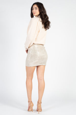 Ruched Ruffle Front Sequin Mini Skirt - honey