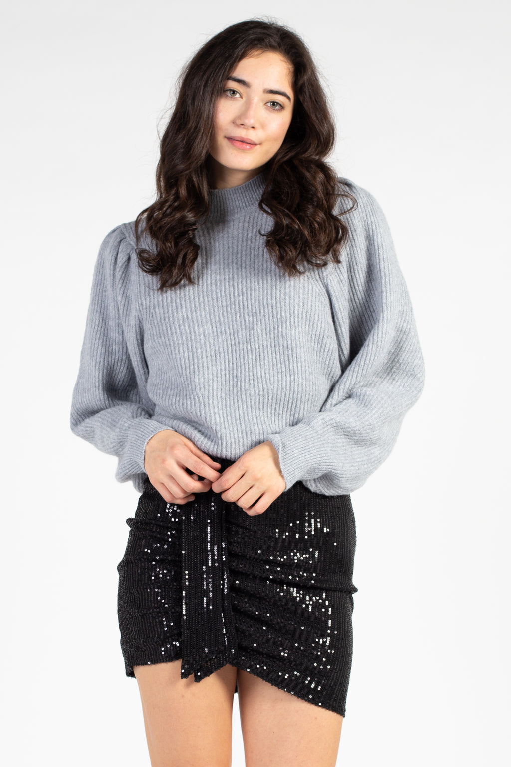 Ruched Ruffle Front Sequin Mini Skirt