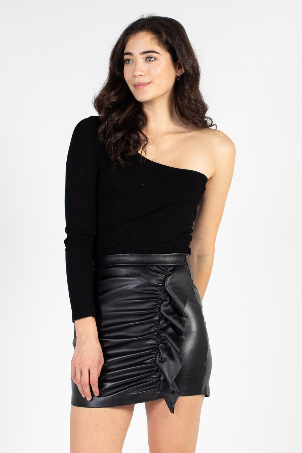 Ruffle Front Vegan Leather Mini Skirt - honey