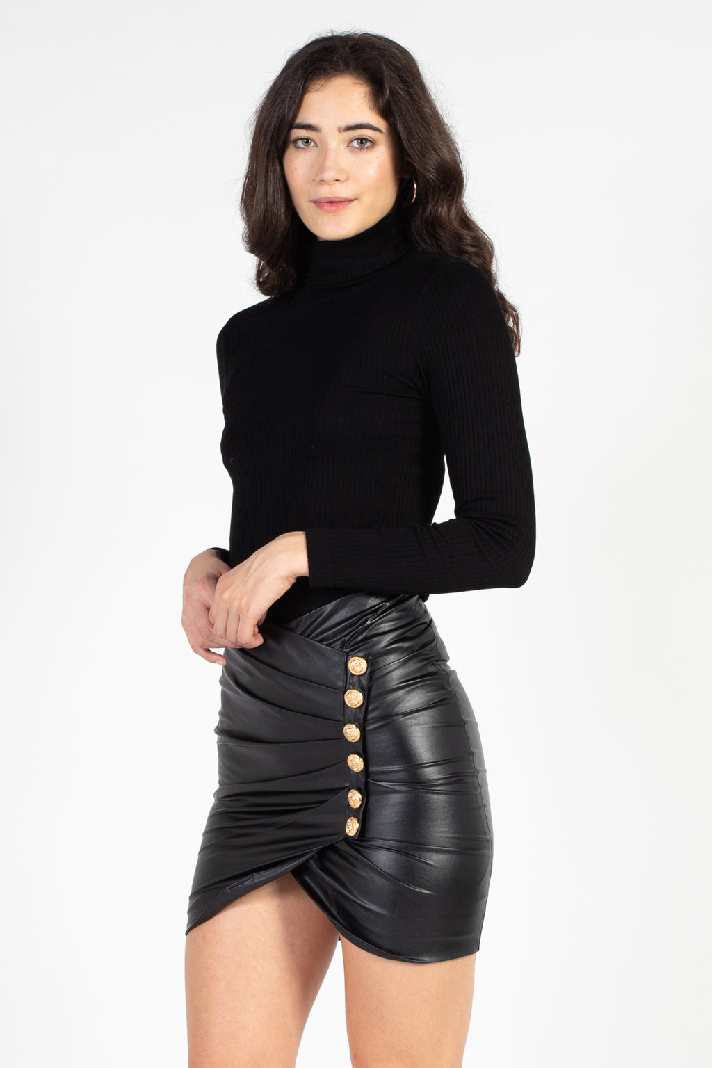 Vegan Leather Side Button Mini Skirt - honey