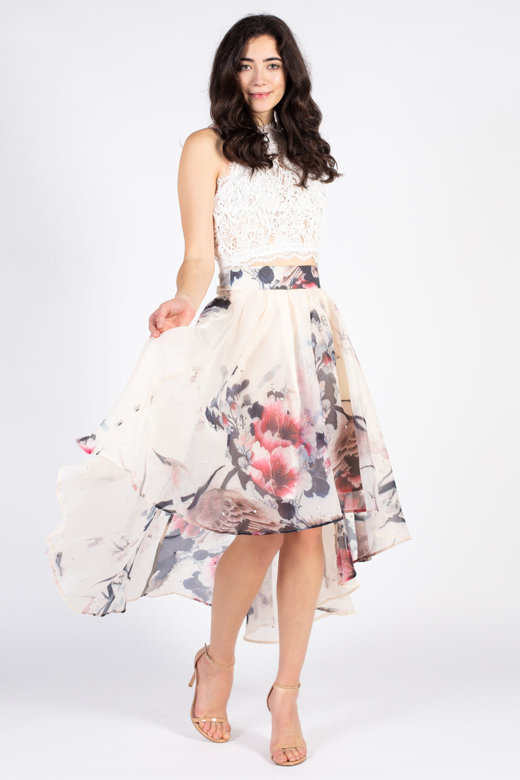 A-line Printed Skirt with Pearl Detail - honey