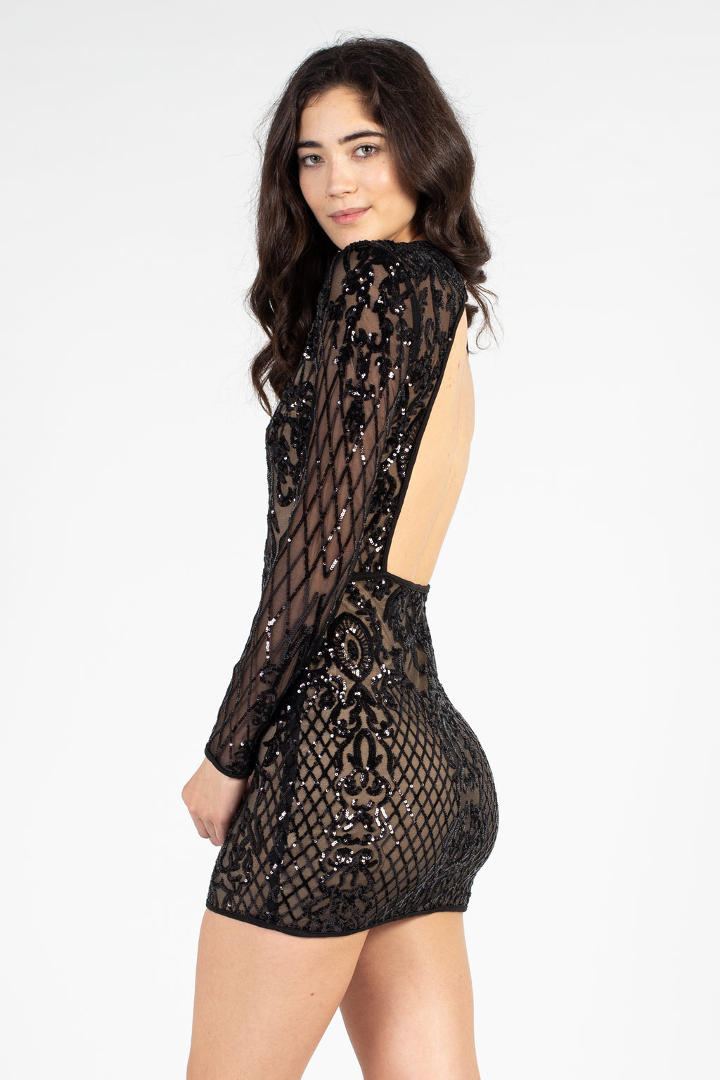 Open Back Sequin Mini Dress - honey