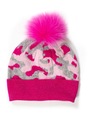 Camo Hat with Fur Pom Pom - honey
