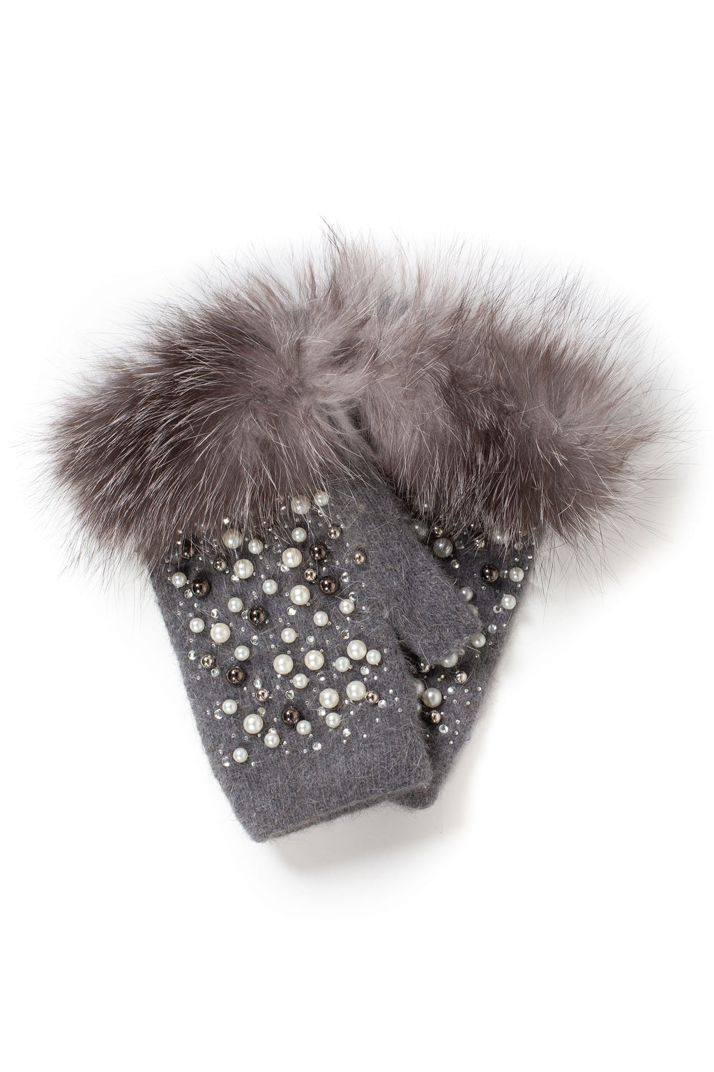 Embellished Knit Hand Warmers - honey
